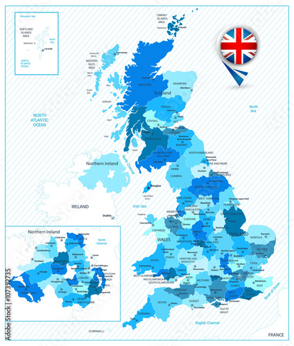 Blue color map of the Great Britain Wall mural