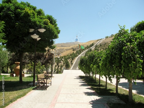 The new park in the mountains - Serdar Health Path  in  valley within the Kopet Dag Mountains Canvas Print
