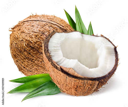 Fotografia Coconut with half and leaves on white background