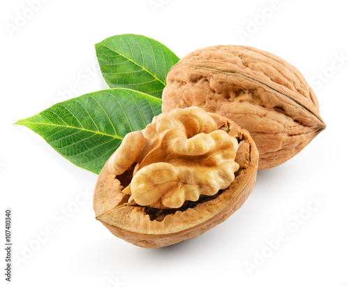 Obraz Walnut with leaves isolated on the white background. With clippi - fototapety do salonu