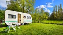 Caravan Trailer On A Green Law...