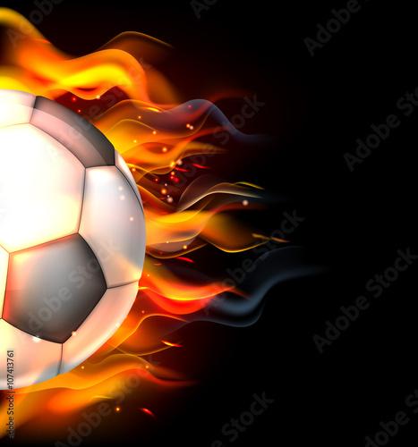 Flaming Soccer Ball Canvas Print