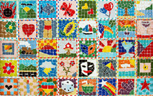 Colorful Collage Of Bright Mosaic Summer Pictures.
