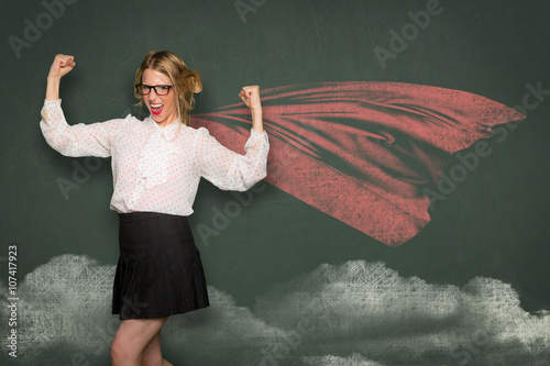 Nerdy teacher showing strength determination education pride will power learning Wallpaper Mural
