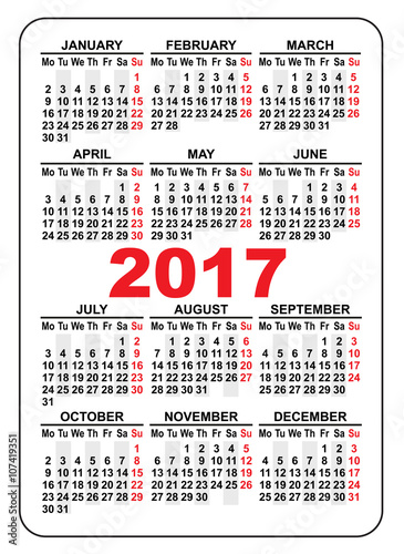 Pocket Calendar 2017 First Day Monday Buy This Stock Vector And
