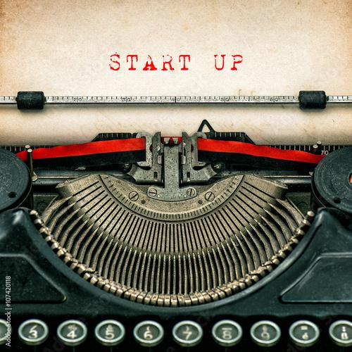 Deurstickers Retro Antique typewriter aged textured paper sheet Start up