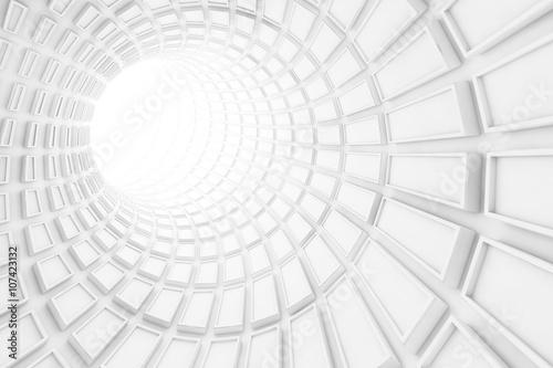 Turning white tunnel interior, 3 d illustration