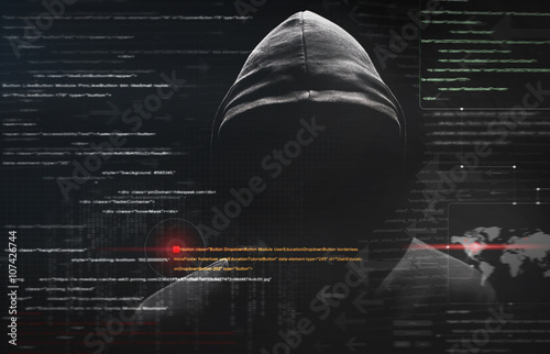 Fotografía  hacker at work with graphic user interface around