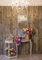 Fototapeta na wymiar mirror, flowers, decoration, chandelier