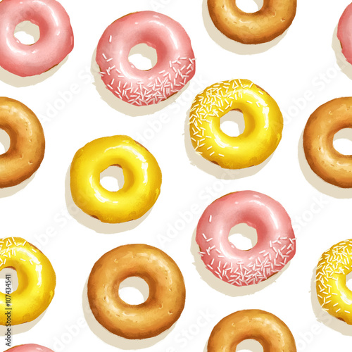 Cotton fabric Seamless pattern with yellow and pink doughnuts on white isolated background