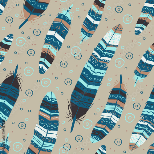 Cotton fabric Seamless pattern with ornate blue bird feathers in vintage ethnic aztec boho style on beige background. For fabric, textile, wrapping.