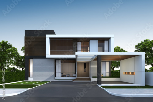 3D rendering of house exterior with clipping path.