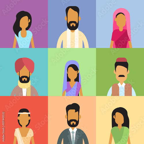 Indian Profile Avatar Set Business People Portrait Canvas Print
