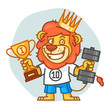 Lion Holds Dumbbell and Prize Cup