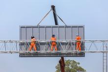 Workers Install Big Steel Bill...