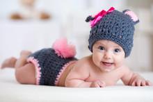 Happy Baby Child In Costume A Rabbit Bunny