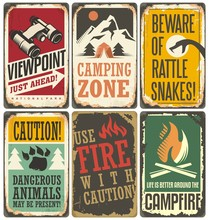 Set Of Retro Outdoor Camp Sign...