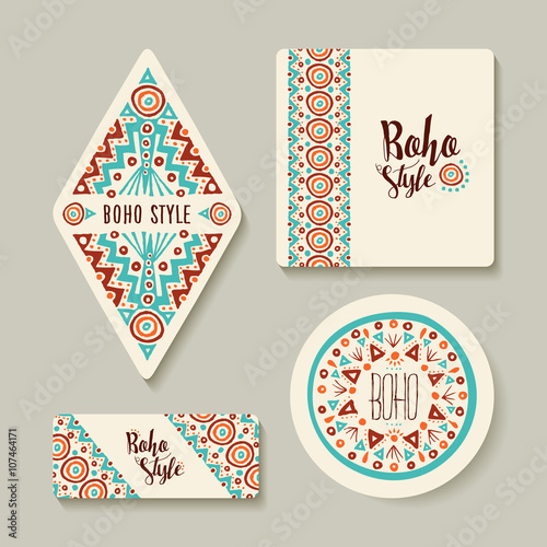 Photo sur Aluminium Style Boho Boho style sticker or tags set with tribal art