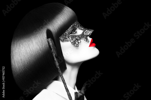 Sexy woman with red lips mask and whip selective coloring bdsm Poster