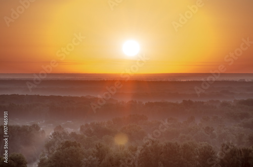 Poster Zonsondergang Beautiful sunrise in the summer