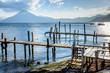 San Pedro volcano & jetties, Lake Atitlan, Guatemala