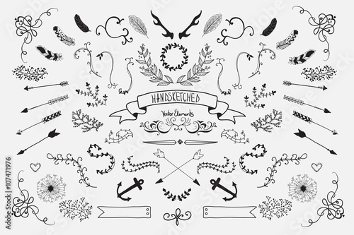 Obraz Hand Drawn vintage floral elements. Set of flowers, arrows and decorative elements.
