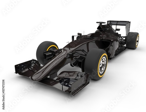 Staande foto F1 Dark brown formula one car - isolated on white background.
