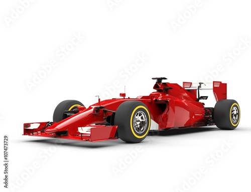 Plakát  Awesome red formula one car - beauty shot - isolated on white background
