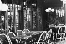 Vintage European Restaurant, Black And White