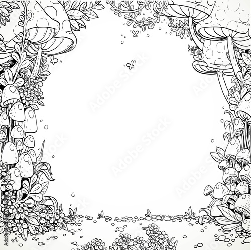 Fairytale decorative mushrooms and flowers in the magic forest. Poster
