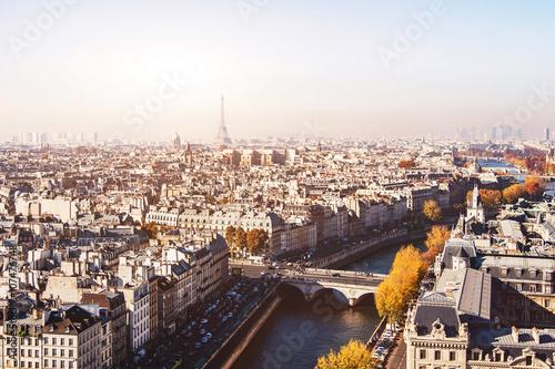Papiers peints Paris Paris panoramic view, beautiful aerial cityscape with Eiffel Tower on background