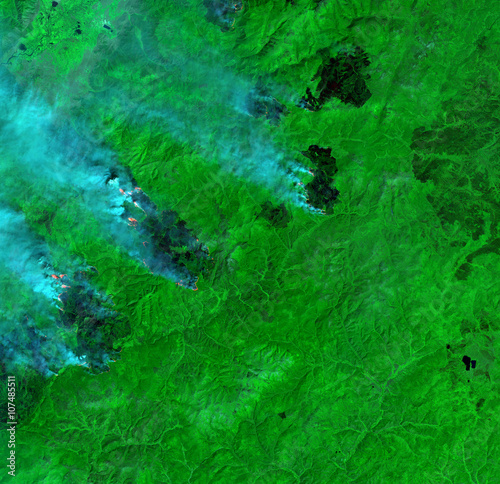 Deurstickers Nasa Wildfire from Landsat satellite. Elements of this image furnished by NASA.
