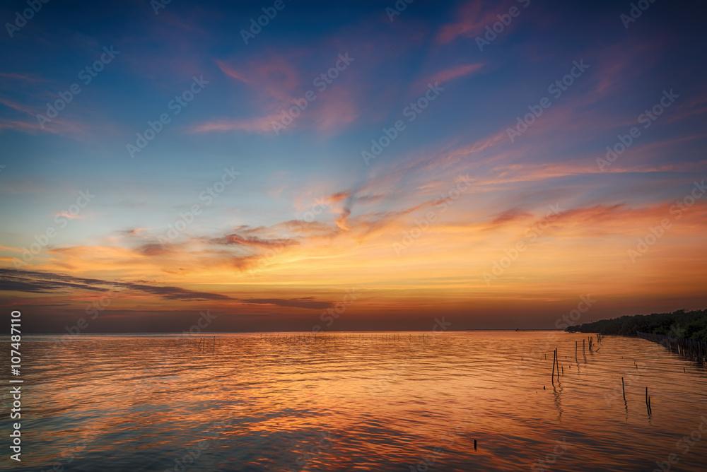 Fototapety, obrazy: beautiful seascape and twilight sky,  colorful cloudscape background, landscape