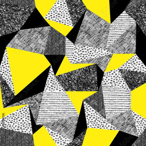 Geometric seamless pattern in retro style. Vintage background.Tr Billede på lærred