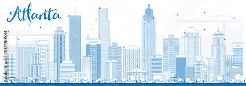 Plakat Zarys Atlanta Skyline z Blue budynków.