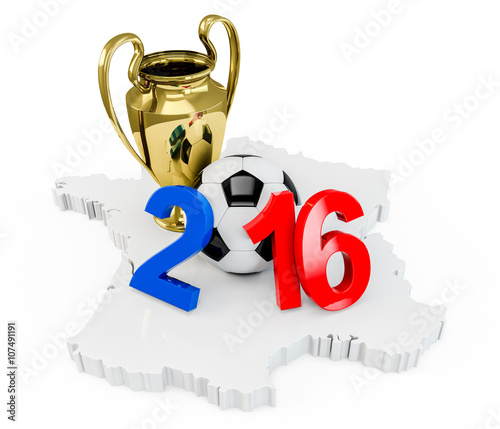 Photo  France 2016 year with a soccer ball, Gold Trophy Cup on a french map, isolated on white background