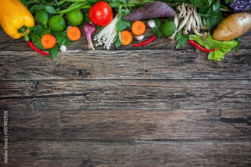 Recess Fitting Vegetables Fresh Vegetables on Wooden Background. Healthy Food. Vegetarian food, Organic Food. Vegetables on wooden table from above.