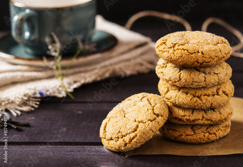 Tuinposter Koekjes Soft ginger cookies with cracks