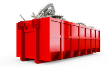 Red Rubble Container Perspective Front View Isolated On White Background. 3D Rendering, 3D Illustration.