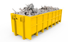 Yellow Rubble Container Perspective Front View Isolated On White Background. 3D Rendering, 3D Illustration.