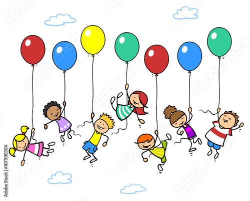 viele kinder fliegen mit luftballons kaufen sie diese illustration und finden sie hnliche. Black Bedroom Furniture Sets. Home Design Ideas
