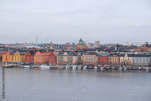 Foto op Plexiglas Arctica Stockholm, Sweden - March, 16, 2016: panorama of Old Town of Stockholm, Sweden, with the boats on a sea