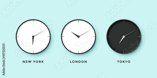 Carta da parati Set of day and night clock for time zones different cities