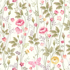 Fototapetaseamless floral pattern with roses and butterfly