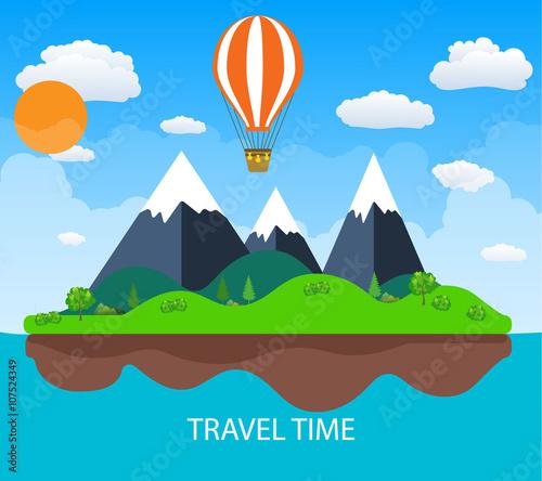 Cadres-photo bureau Bleu vert Travel illustration with landscape