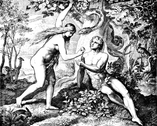 Valokuva Adam & Eve Eat Forbidden Fruit 1) Sacred-biblical history of the old and New Testament