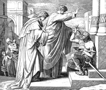 Peter Heals Crippled Beggar 1) Sacred-biblical History Of The Old And New Testament. Two Hundred And Forty Images Ed. 3. St. Petersburg, 2) 1873. 3) Russia 4) Julius Schnorr Von Carolsfeld