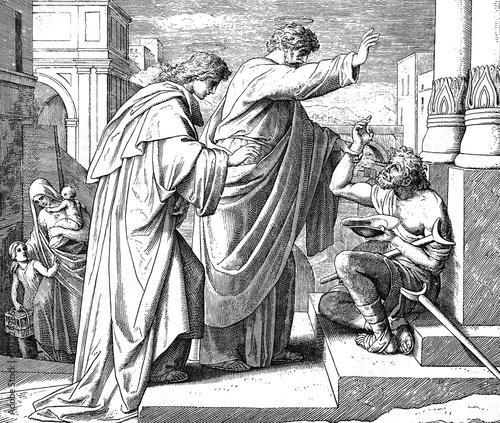 Valokuva  Peter Heals Crippled Beggar 1) Sacred-biblical history of the old and New Testament