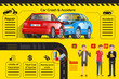 info-graphic car insurance.Car accident on the road.Insurance car Policies.Mediation between the parties for a reason.City lifestyle.Care and listen to customers.Traffic problems.Graphic and EPS 10.