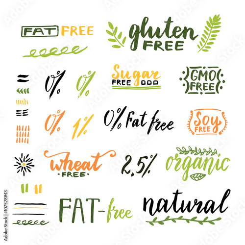Badges and labels for homemade natural products  Gmo, gluten